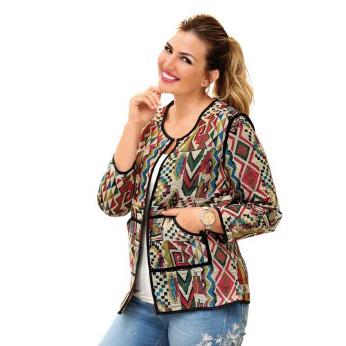 012949 Jacke aus grob gewebtem Stoff mit Print auf Beige für große Größen