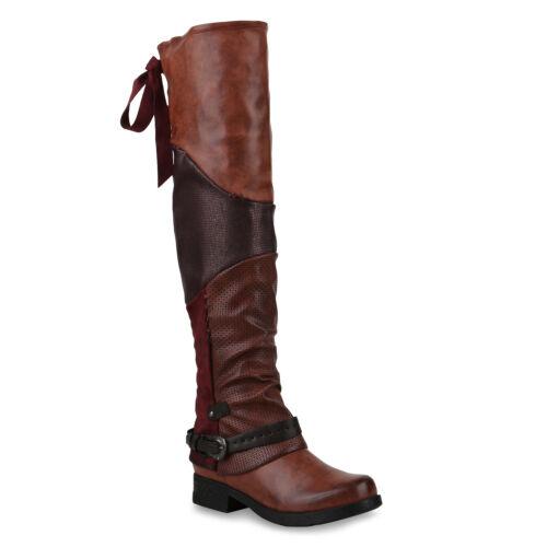 Damen Overknees Stiefel Modische Bikerstiefel Print Boots 825623 Schuhe