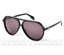 ALEXANDER MCQUEEN black plastic AM0020S SKULL Aviator Sunglasses NIB Authen $440