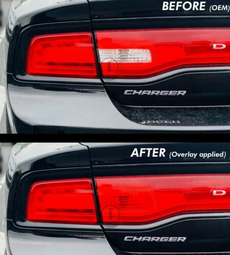 Fits 11-2014 CHARGER RUBY RED Reverse Tail Light Rear PreCut Vinyl Overlays Tint