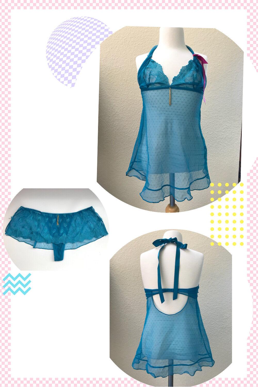 268 LUXURY SleepwearVALISERE Baby Doll Lace SHEER Halter Camisole LINGERIE SET