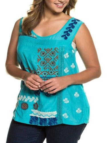 NEW ex Ulla Popken EMERALD Sleeveless Embroidered Top size 20-22 24-26 28-30
