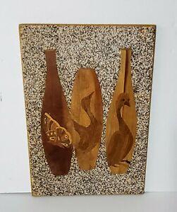 Vintage Pebble Gravel w/ Wood Inlay Mid-Century Modern Retro Birds Butterfly