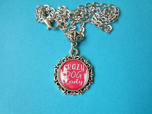 Dog Lover Wood Necklace Crazy Dog Lady Handcrafted Laser Engraved 18 Thick Birch Wood With 24 Gunmetal Vintage Style Chain