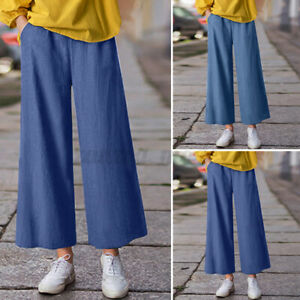 Mode-Femme-Pantalons-Poches-Loisir-Loose-Jambe-Large-Taille-elastique-Long-Plus