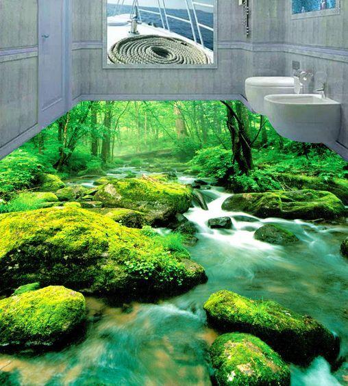 3D Naturaleza Bosque Piso impresión de parojo de papel pintado mural Moss Calcomanía 5D AJ Wallpaper