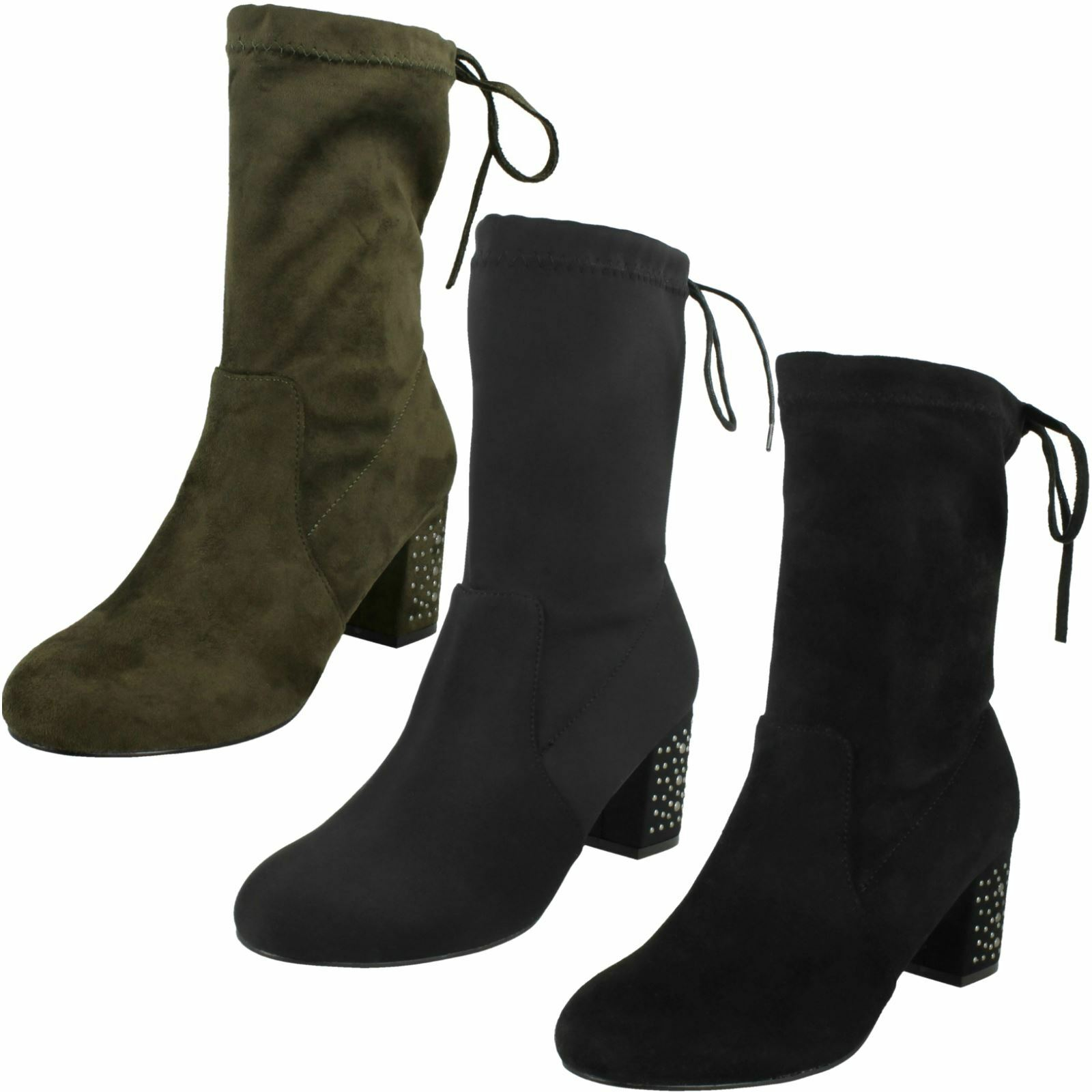 Ladies Spot On Mid Chunky Heel Calf High Boots With Inner Zip Fastening
