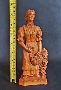 Vintage-Antique-Hand-Carved-French-Wood-Folk-Art-Traditional-Female-Figurine