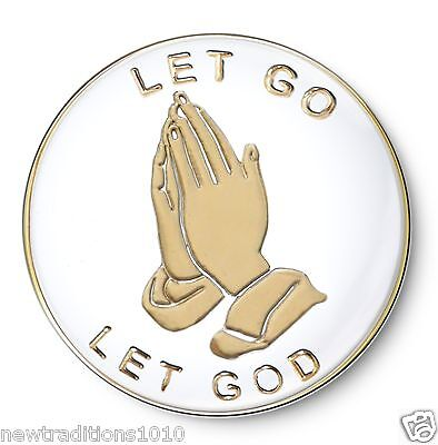 "Let God/"" AA//NA Enameled Recovery Coin//Medallion Praying Hands /""Let Go"