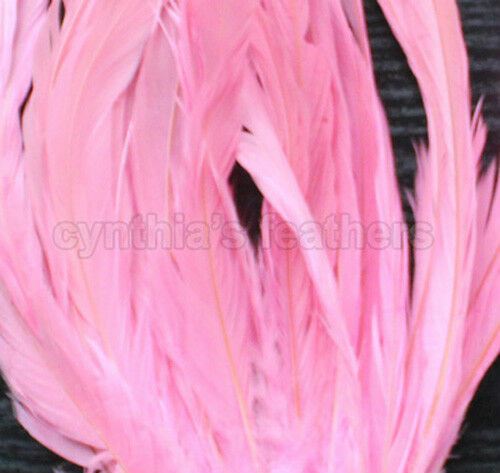 """25pc 10-12/"""" long Fuschia Fuchsia Dyed Rooster COQUE tail Feathers for crafting"""