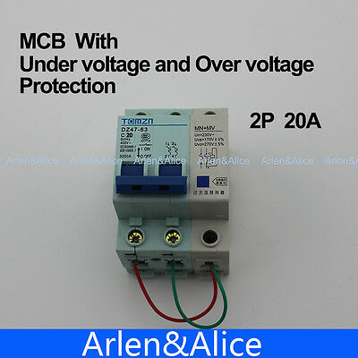 2P 40A 400V~ 50HZ//60HZ MCB MN+MV with over voltage and under voltage protection