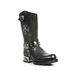 New Rock Mens Boots MR030-S1 Black Western 100% Leather Gothic Platform Shoes