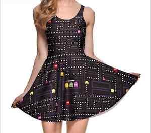 Gamer-Girl-Pacman-Retro-Fun-Swing-Skater-Dress-Adorable-Kawaii-Print-Nerdy-New