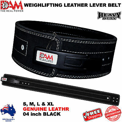 DAM Genuine Leather Gym Power Heavy Duty Weight Lifting Bodybuilding Belt NEW