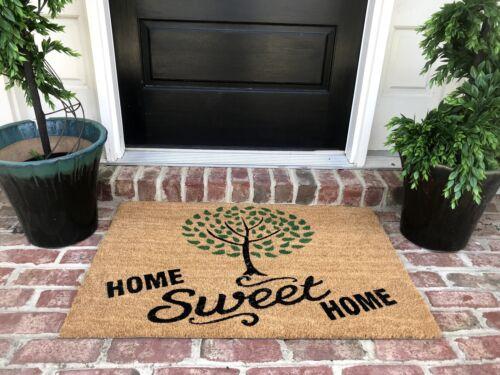 FREE Rub New Natural Coir Non Slip Tree Home Sweet Home Floor Entrance Door Mat