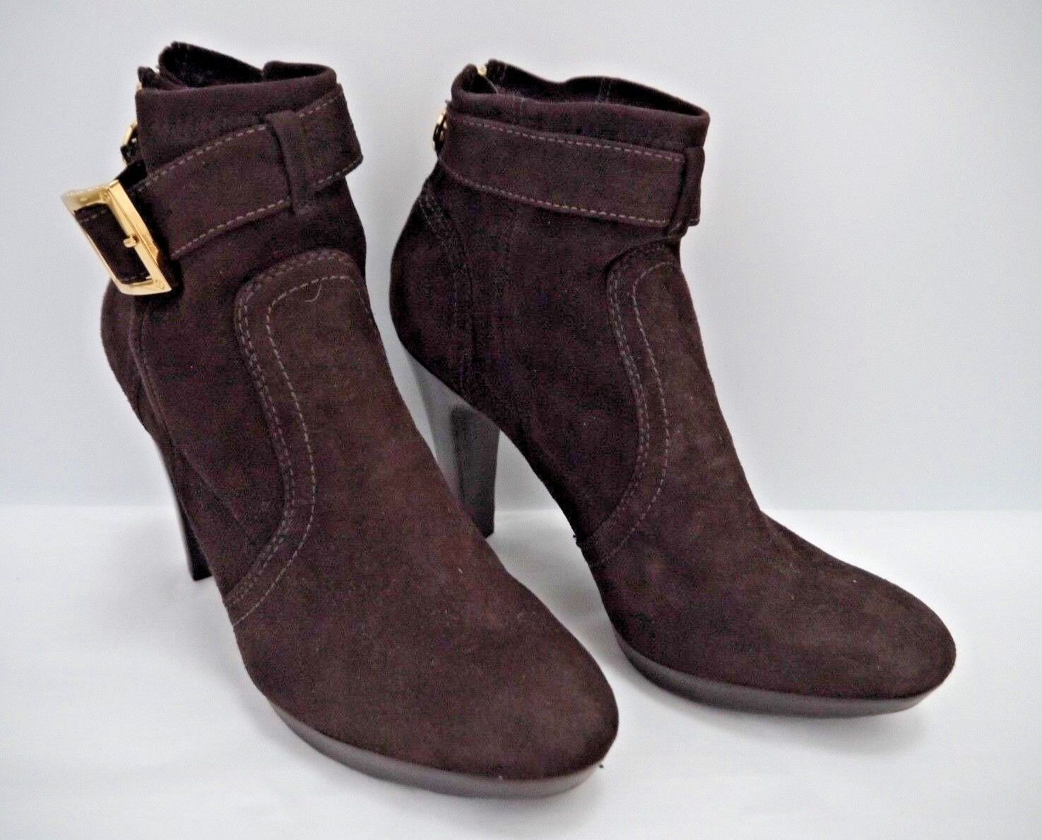 TORY BURCH $395 Melrose brown suede heeled ankle boots booties 9.5 WORN ONCE