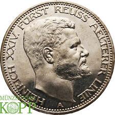 AA1705) J.119 REUSS 3 Mark 1909 A Heinrich XXIV 1902-1918 ältere Linie PROOF  PP