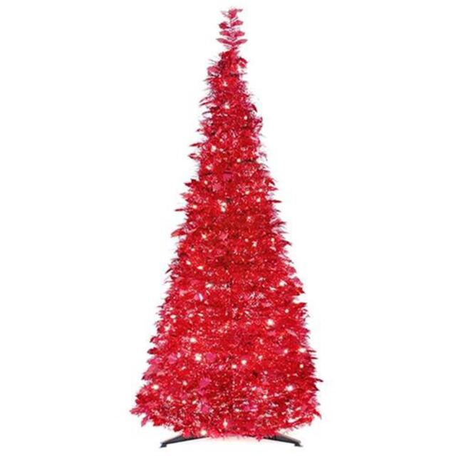 6' POP UP CHRISTMAS TREE PRE-LIT 250 CLEAR LIGHTS RED TINSEL PULL UP - 6' Pre-lit Pop Up Red Tinsel Artificial Christmas Tree - Clear