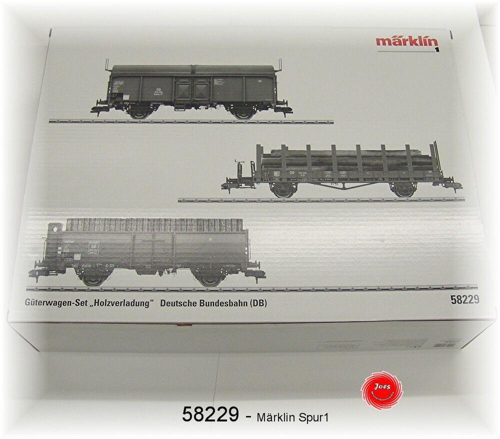 MÄRKLIN 58229 Spur 1 Güter-Wagenset  Holzverladung  der DB 3-teilig NEU in OVP