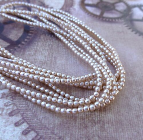2mm Faux Pearl Beads Mini Glass Pearls 2mm Strand of 150