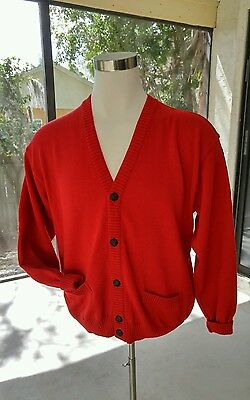 Paul & Shark Yachting Bretagne Red 100% Pure Wool Cardigan Medium Made in Italy