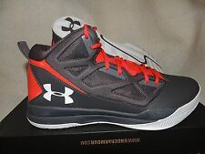 NIB MENS UNDER ARMOUR JET MID BASKETBALL SNEAKERS~SHOES~SIZE 13~grey/red
