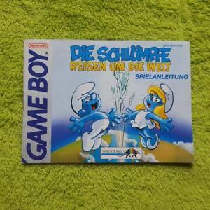 Gameboy-los-Pitufos-Reisen-Um-Die-Mundo-Instrucciones-Del-Juego-Manual-Folleto