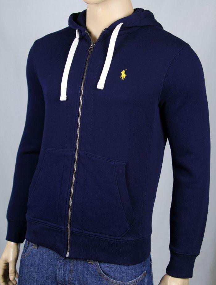 Polo Ralph Lauren Navy Blau Hoodie Full Zip Sweatshirt Gelb Pony NWT