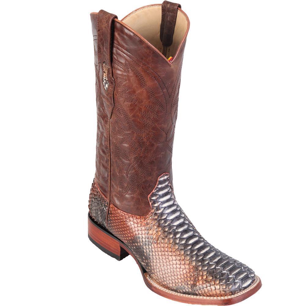 Los Altos RUSTIC COGNAC Genuine PYTHON SNAKE Western Cowboy Boot Square Toe EE+