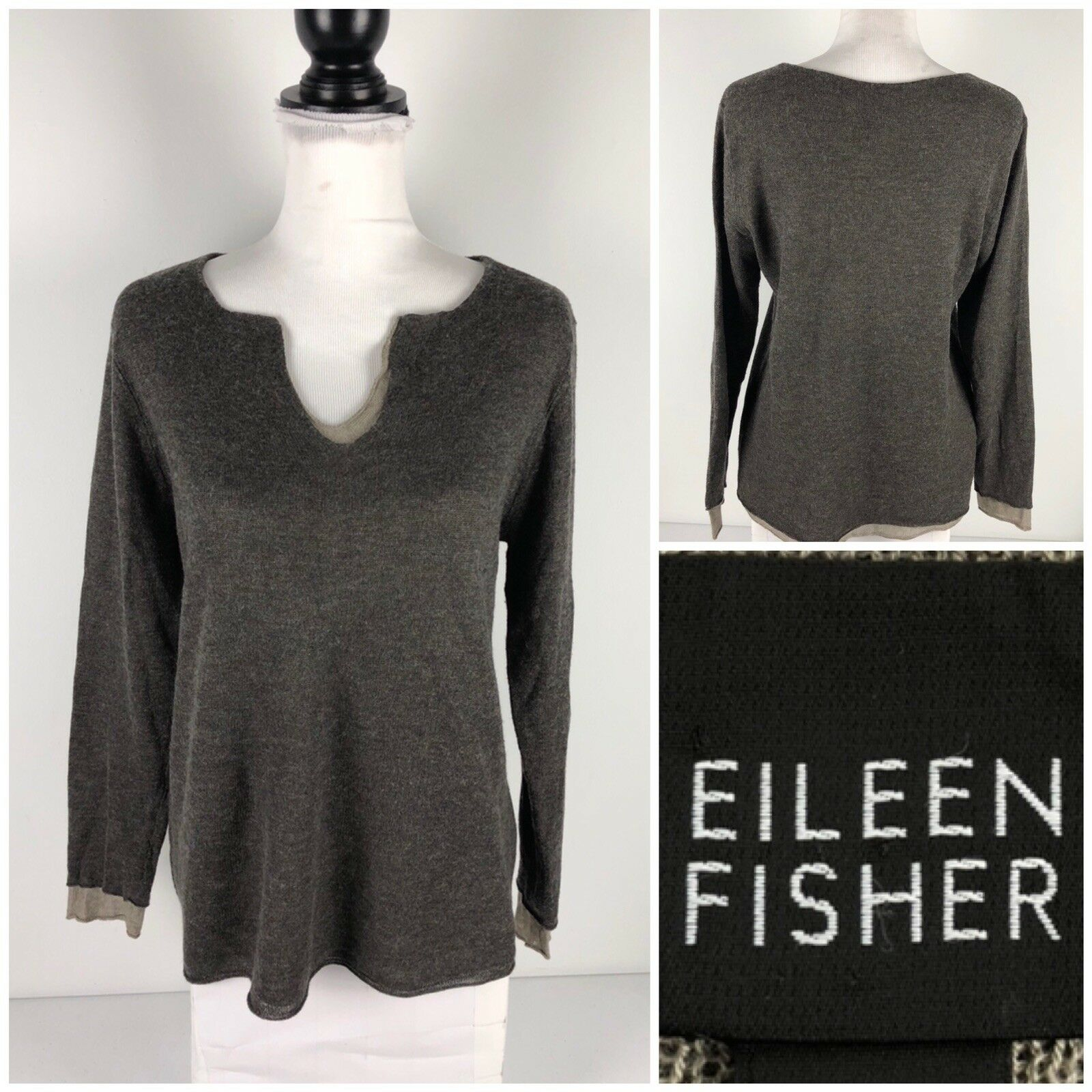 Eileen Fisher Size Size Size Small Sweater Lightweight 2 Ply Viscose Wool Blend Umber EUC 122038
