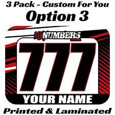 Motocross Mini Number Plate Decal Stickers Custom Name Race Mx Sx Atv Ama Rmz Rm