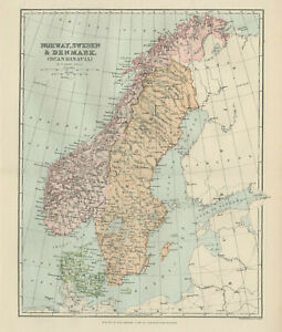 photograph regarding Scandinavia Map Printable called Info concerning Antique Print - Map Of Norway, Sweden Denmark (Scandinavia) C 1895