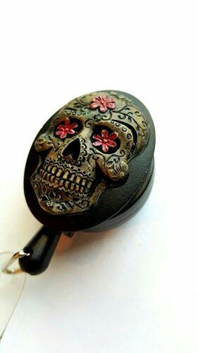 Black pink PaintedNeon Sugar Skull Badge Holder Retractable ID Card Lanyard