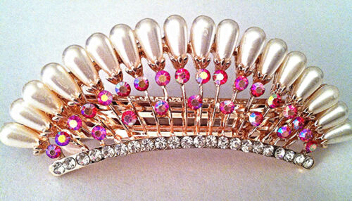 Faux Pearl and Rhinestone Hair Clip in Crown Design great for Prom or Wedding