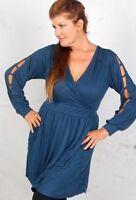 Zd696 Demin Blouse Top Dress Mini Wrap Cross Over Jersey 2x 3x 4x Plus Size