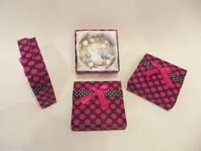12 x Bracelet Display Jewellery Boxes 9cm x 9cm x 3cm Black/Hot Pink Spots