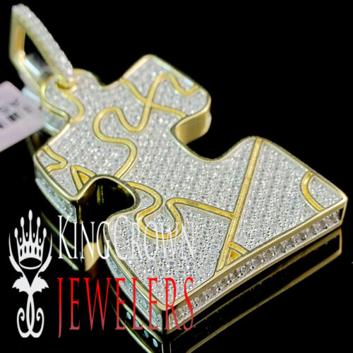 Details about  /10K Yellow Gold Over Real Silver Jigsaw puzzle Piece Simu Diamond Pendant Charm