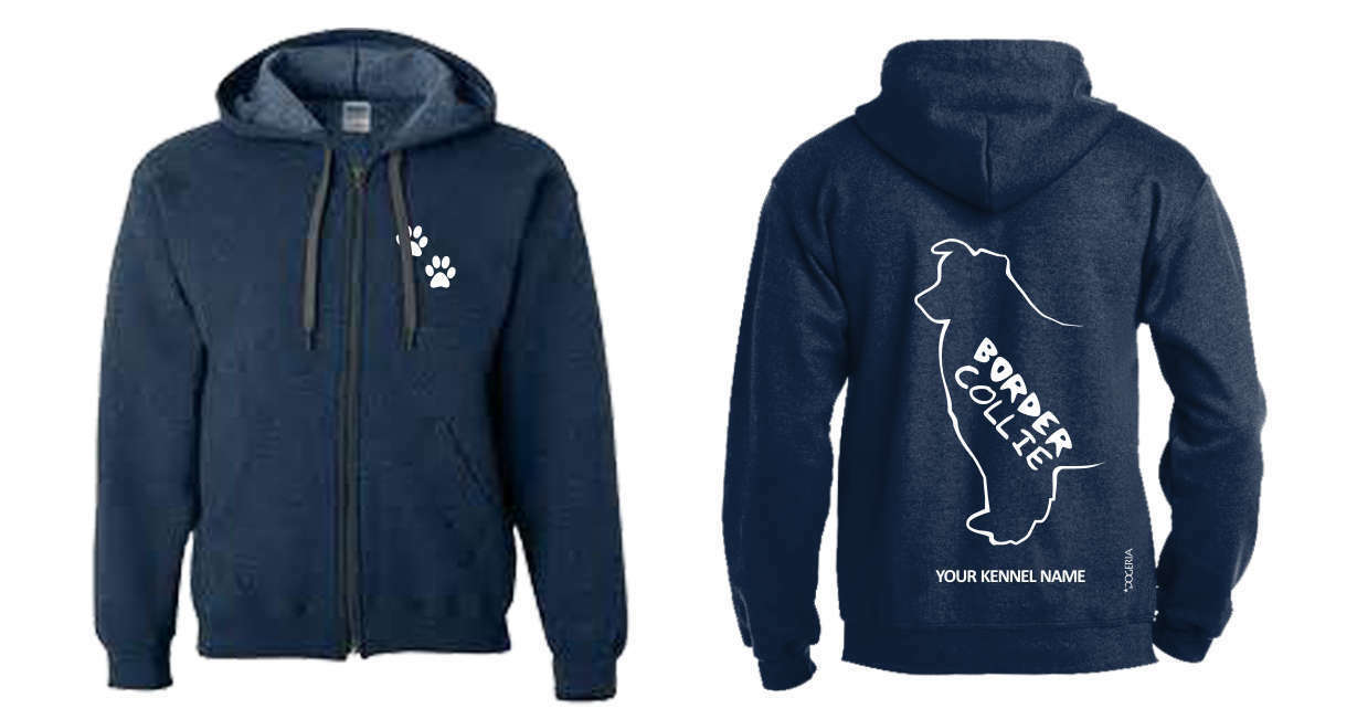 Border Collie Full Zipped Dog Breed Hoodie, Exclusive Dogeria Design,