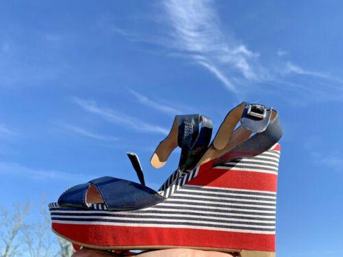TOMMY HILFIGER Red White Blue Logo Striped Wedges… - image 1