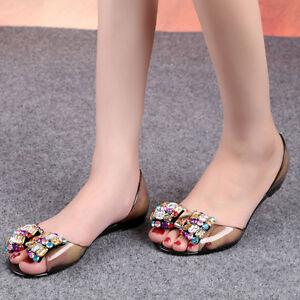 59fb79885a5b Women Boho Sexy Jelly Sandals Bling Bowtie Fashion Peep Toe Shoes ...