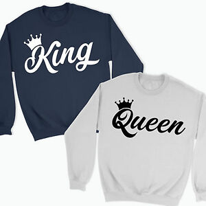 KING QUEEN CROWN JUMPER SWEATSHIRT MR MRS VALENTINES DAY COUPLES ... e44b27037c14