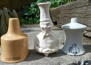 Antique The Gourmet Pie Cup Chef Pie Funnel & Nutbrown Pie Funnel x 3