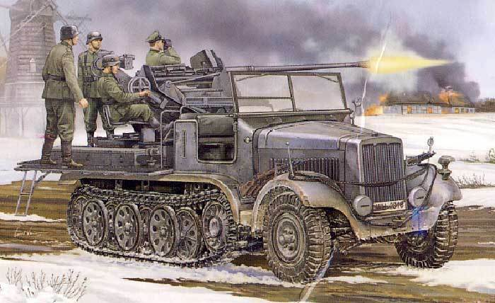 Trompeter sd.kfz.6 2 3,7cm flak dopo la guerra mondiale obice 37 ii 1  5
