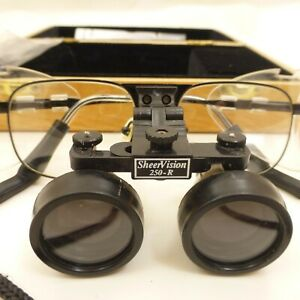 SHEERVISION-250-R-Dental-Surgical-Loupes-w-Original-Wooden-Case-amp-Shields