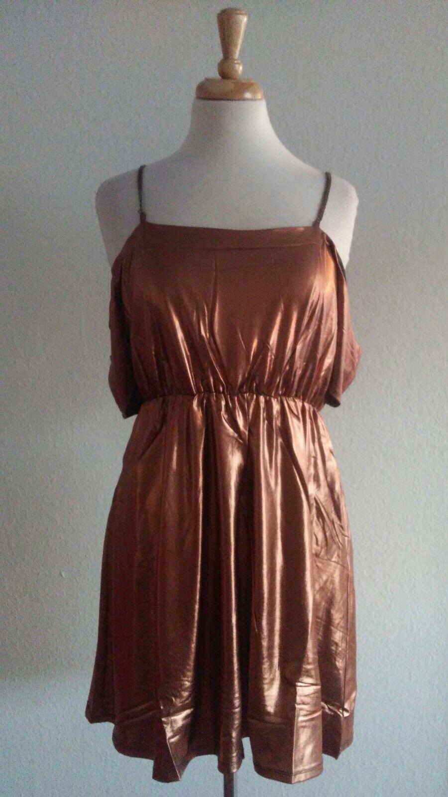 KEROLD Bronze Metallic Chain Shoulder Mini Dress Sz XS