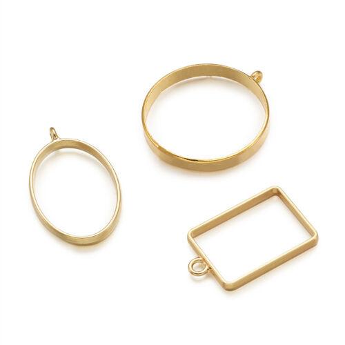 25pcs Mixed Golden Alloy Open Back Bezel Frame Big Pendants Hollow Metal Charms