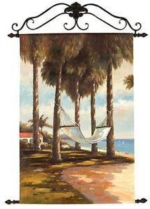 Lazy Days ~ Palm Trees /& Hammock Oil on Canvas Artisan Wall Hanging