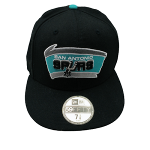 San Antonio Spurs Black Green Retro Throwback Logo Hat NBA Fitted 7 1/8