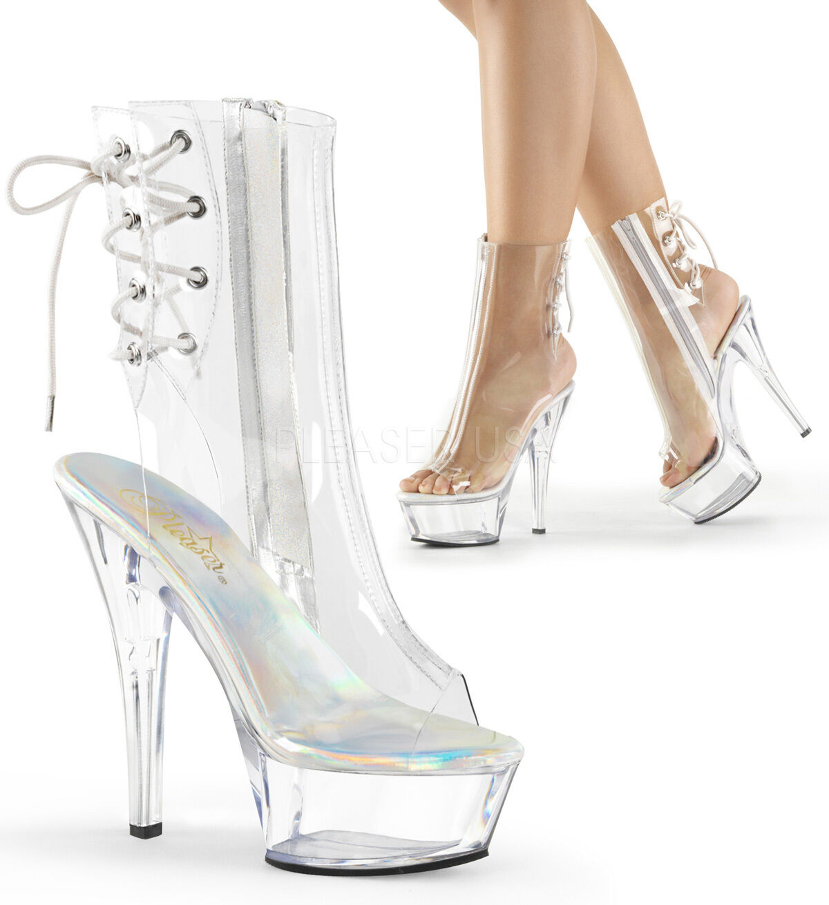 6  de Plástico Transparente Plataforma Con Cordones Tacón Pleaser Pleaser Pleaser Bailarín Stripper botas talla 7 8 9  Venta barata