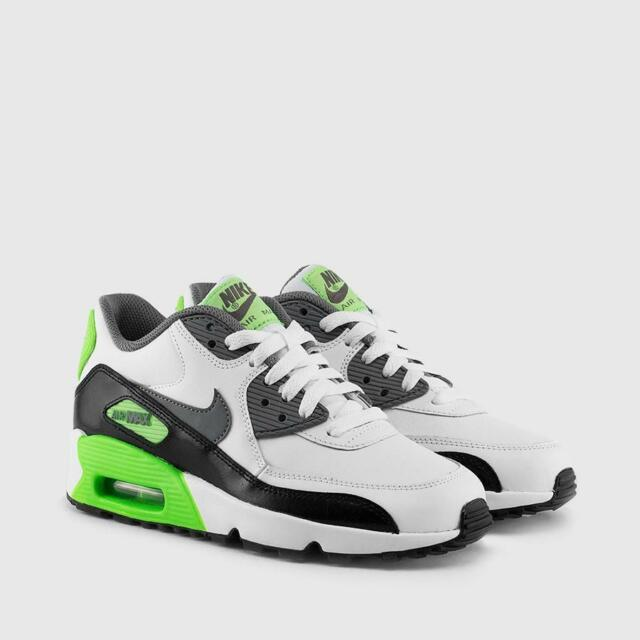 NIKE AIR MAX 90 LTR GS LEATHER 833412 103 WHITECOOL GREY ELECTRIC GREEN BLACK
